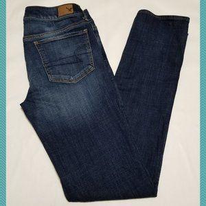 American Eagle Dark Wash Mid Rise Straight Jeans